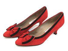 Rangoni Size 7.5AA Gannet Red Suede Bow Tie Pumps Shoes Black Trim