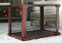 Medium Size Dog Crate End Table Metal Side Wooden Top Side Sofa Indoor Kennel