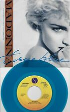 MADONNA  True Blue  2 versions  rare BLUE vinyl promo 45 with PicSleeve