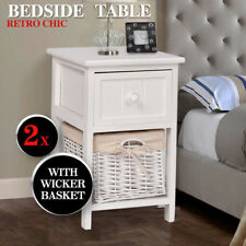 2 Pcs Bedside Tables Shabby Chic Wicker Drawers Storage White Units Home Bedroom