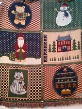 Home Spun Quilt Christmas Tapestry Throw Blanket Cotton Cat Bear Santa Snowman