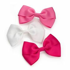 3x GIRLS HAIR BOWS RIBBON BOW HAIR CLIPS GIRLS BOW CLIPS ACCESSORY GIRLS BOWS UK