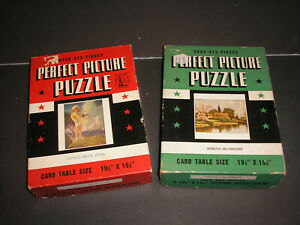 Vintage Perfect Picture Jigsaw Puzzles (2) - Card Table Size