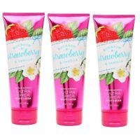 3 Bath & Body Works Bourbon Strawberry  Vanilla Ultra Shea Body Cream 8 oz