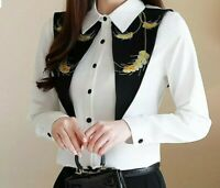 Ladies White Designer Large Black Dagger Collar Summer Gold Blouse Shirt 10 12