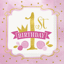 1st BIRTHDAY Pink and Gold LUNCH NAPKINS (16) ~ First Party Supplies Serviettes