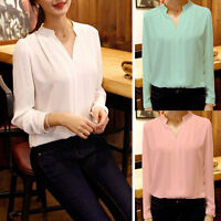 Womens Chiffon V-Neck Tops Blouse Casual Long Sleeve T-Shirt Office Lady Tee &t