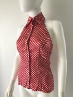 Bebe Women's Top Blouse Halter Silk Red White Polka Dot With Crystal Buttons XS