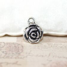 Cute antique silver carved rose charms x4