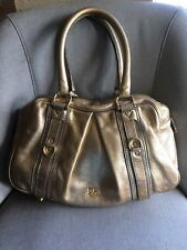 Authentic Burberry Gold Leather Handbag Satchel Shoulder Bag 904652862576a
