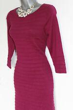 MONSOON Raspberry Knitted 3/4 Sleeve Knee Length Tunic Jumper Dress Medium