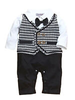 StylesILove Toddler Baby Boy Houndstooth Cotton Tuxedo Romper Outfit, 6M-24M