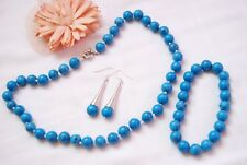 Handmade turquoise natural gemstone jewellery set necklace earrings bracelet