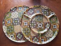 Two Patchwork Fiberglass Round SERVING TRAYS mid century 17 inch divided VTG
