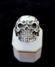 Unique Biker/Gothic skull Sterling Silver ring with skeletons!!!