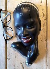 Céramique tête de femme noire keramic Austria buste 50 60 vintage