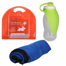 Pet Dog Car Travel Kit/Road Trip - 24pc First Aid Towel & Portable Leaf Bottle