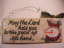 "SNOWMAN SIGN: ""MAY THE LORD HOLD YOU""  personalized w/NAME 3X7"" HANDPAINTED SIGN"