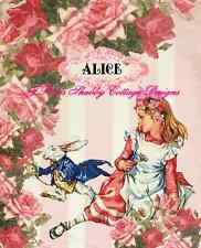 Adorable Alice In Wonderland Altered Art w White Rabbit 8x10 Fabric Block