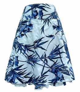 Karen Millen White Blue Bird Floral Flare Skirt UK 8 EU 36 US 4