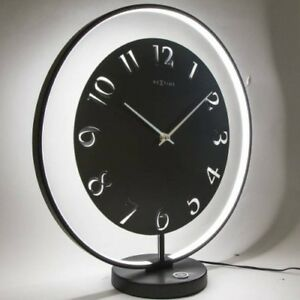 Design Table Clock NeXtime Black Floor Clock Illuminated LED Table Lamp Dimmable