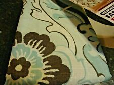 new Fabric Shower Curtain~Brown Warm Teal Blue Flowers Newcastle Swirls Leaves
