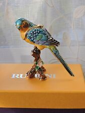 RUCINNI Jeweled PARAKEET SWAROVSKI TRINKET BOX Yellow Blue Bird RB1916RD MIB