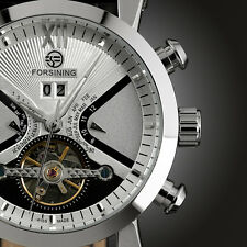 Montre Bracelet Automatique Noir Blanc Date Cuir Acier Sport HOT smart