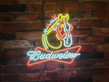 """New Budweiser Clydesdale Horse Neon Light Sign 20""""x16"""" Beer Gift Bar Real Glass"""
