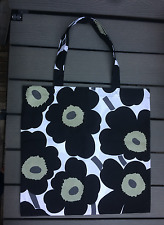 "SALE Handmade shopping tote bag, Marimekko Black Unikko fabric 17x18""  Finland"