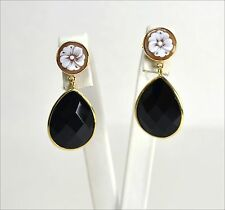 18k GOLD EARRINGS - CAMEOS AND FACETED ONYX DROPS                  - OGHT 0423 -