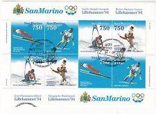 SAN MARINO francobolli usati 1994 Iin foglietto OLYMPIC GAMES 1993 ANNULLO FDC
