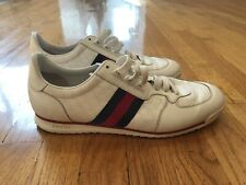 GUCCI White Leather Web Sneakers Shoes Size 10 G / US 11 Made in Italy 233334