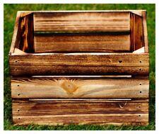 Holzkiste geflammt 40 x 30 x 22 cm Natur Blumentopf Regal Aufbewahrung Obst Holz