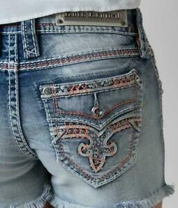 ROCK REVIVAL WOMENS JEAN SHORTS RHINESTONE CRYSTAL SEQUIN BLING SIZE 27 NEW