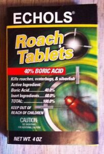 Echols Roach Tablets  KILL ROACHES WATER BUGS ANTS NEW 2 oz ( 100 tablets)