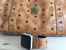 Custom MCM  Munchen  Monogram Apple Watch Strap 38mm  Or 42mm Cognac Band