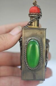 EXQUISITE CHINESE SILVER INLAID ZIRCON HANDMADE CARVED DRAGON SNUFF BOTTLE