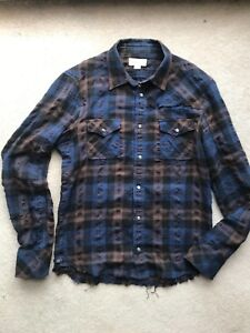Diesel - Men's Long Sleeve Button Up Shirt - Size Small - Blue & Brown Plaid