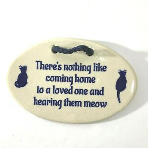 Mountain Meadows Pottery wall hanging kitten cats meow USA home oval blue