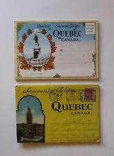 Lot of 2 Vintage Quebec Canada Postcard Souvenir Folder Basilica Chateau Caleche