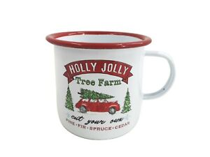 Unique Jolly Painted White Xmas Mug Drink Cup Water Mulled Wine Christmas Tree