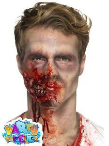 Zombie Jaw Prosthetic Wound Kit Latex Scar Halloween Fancy Dress Gore Make Up FX