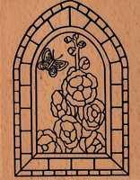 Motivstempel rubber stamp Judi Kins gr Kirchenfenster Fenster Stockrosen Blumen
