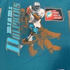 Miami Dolphins T Shirt Adult S M Blue NFL Football Vintage 90s Nutmeg