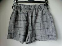 Shorts pantaloncini M L pantaloni corti PIED DE POULE scozzese bianco nero LANA