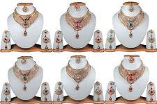 New Wholesale Lot Of 6 Kundan Stylish Bollywood Gold Tone Fashion Jewelry 6H9