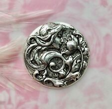 Antique Silver Round Lady Nymph Flower Stamping ~ Findings (Fb-6061)