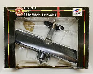 1934 Stearman Bi-Plane Die Cast Liberty Classic Collector Series Bank Gray/Black