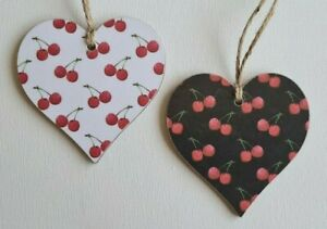 Handmade Wooden Hanging Heart Door Hanger Retro Cherries Print 2 Colour Choices